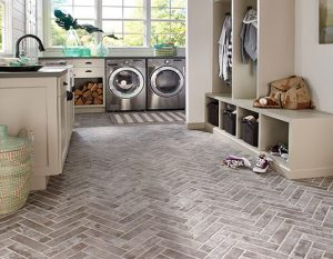 herringbone stone tile flooring